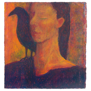 Original Artwork | Figurative Painting by Ruth Hunter | Raven Woman | contemporary portrait with bird