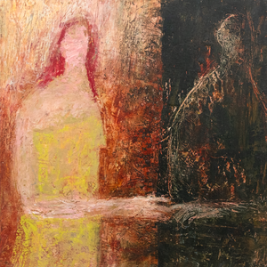 Original Artwork | Figurative Painting by Ruth Hunter | Re-Member | two figures in an abstract landscape