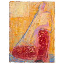 Load image into Gallery viewer, Original Artwork | Figurative Painting by Ruth Hunter | Red Pajama Man | seated figure in interior