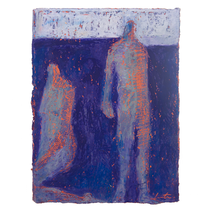 Original Artwork | Figurative Painting by Ruth Hunter | Seekers | two figures in a blue landscape