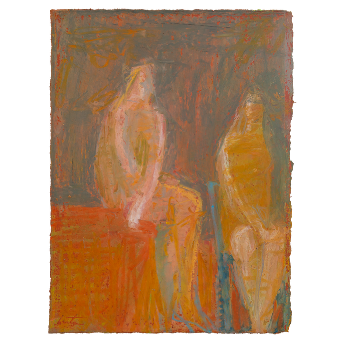 Original Artwork | Figurative Painting by Ruth Hunter | Shared Secret | two seated figures in interior