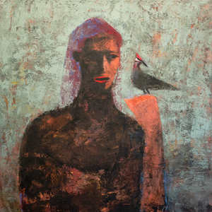Original Artwork | Figurative Painting by Ruth Hunter | She Talks To Woodpeckers | Contemporary Portrait with Bird