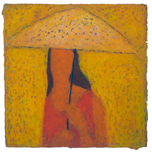 Load image into Gallery viewer, Original Artwork | Figurative Painting by Ruth Hunter | Shelter | contemporary portrait girl with umbrella
