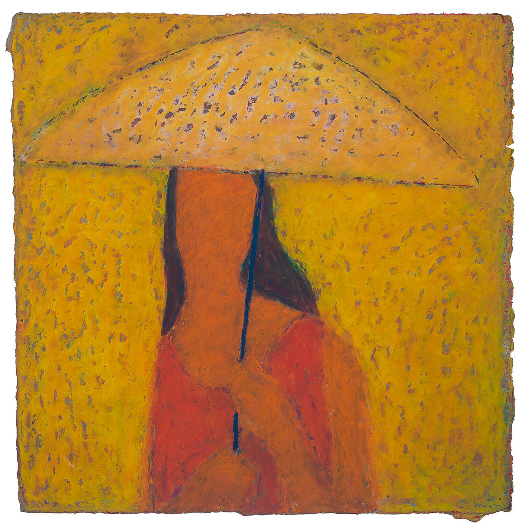 Original Artwork | Figurative Painting by Ruth Hunter | Shelter | contemporary portrait girl with umbrella
