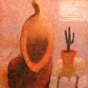 Original Artwork | Figurative Painting by Ruth Hunter | Simpatico | contemporary figure with cactus