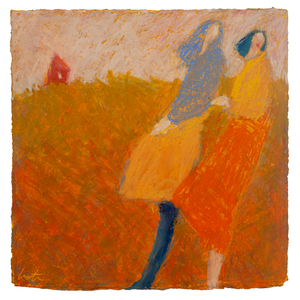 Original Artwork | Figurative Painting by Ruth Hunter | Summer Wind | two figures in contemporary landscape