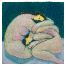 Load image into Gallery viewer, Original Artwork | Figurative Painting by Ruth Hunter | Sweetly Sleeping | two figures folded together