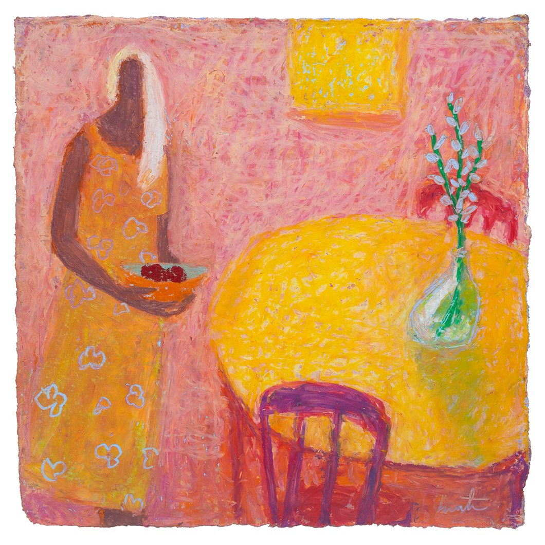 Original Artwork | Figurative Painting by Ruth Hunter | Table for Two | figure setting table for two