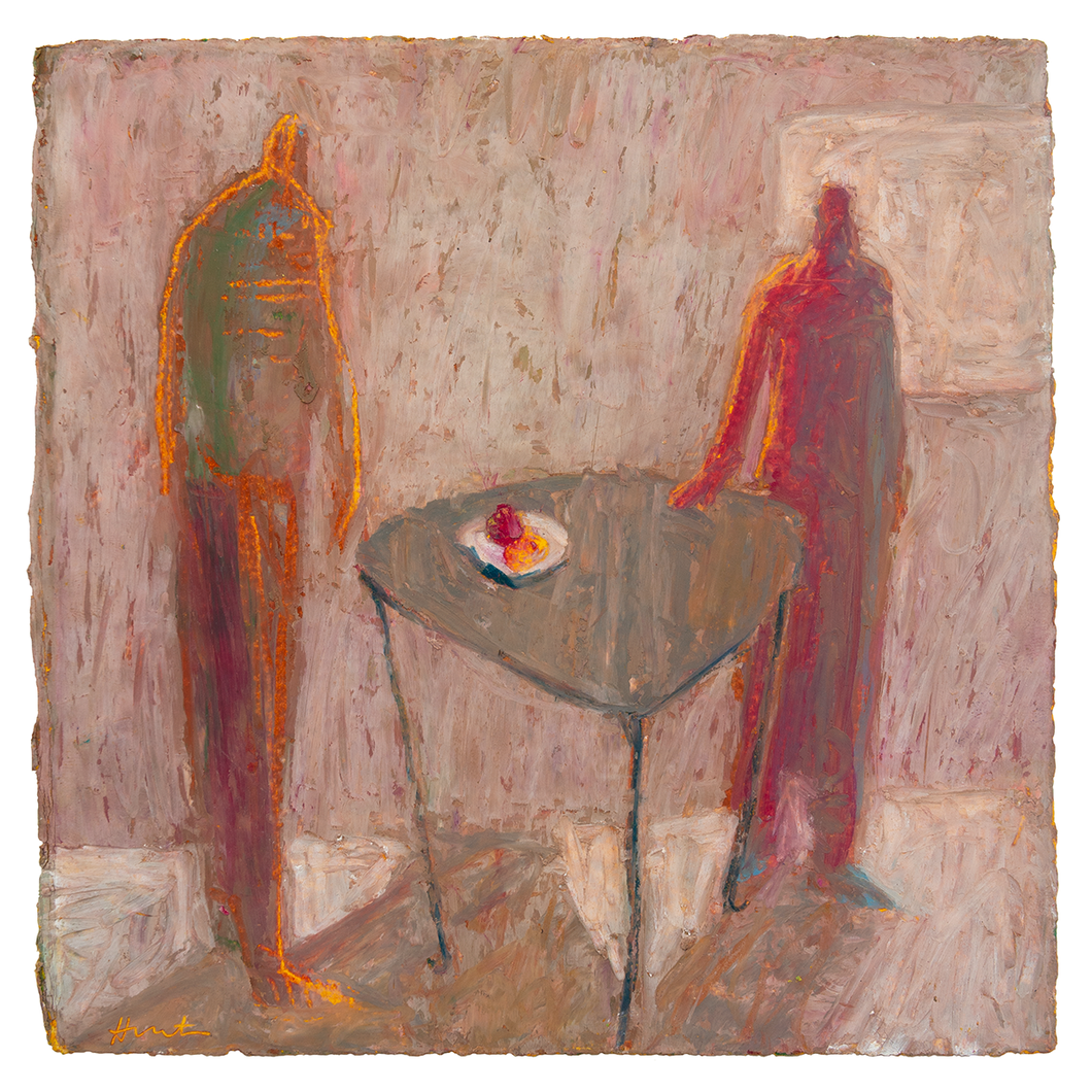Original Artwork | Figurative Painting by Ruth Hunter | The Offer | two figures at table
