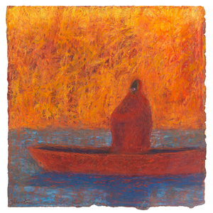 Original Artwork | Figurative Painting by Ruth Hunter | Through The Fire | figure in boat in fiery landscape
