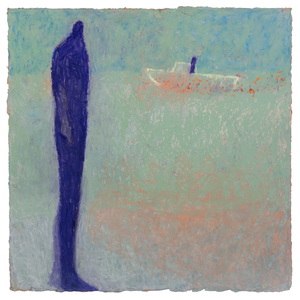 Original Artwork | Figurative Painting by Ruth Hunter | Tug | blue figure with boat