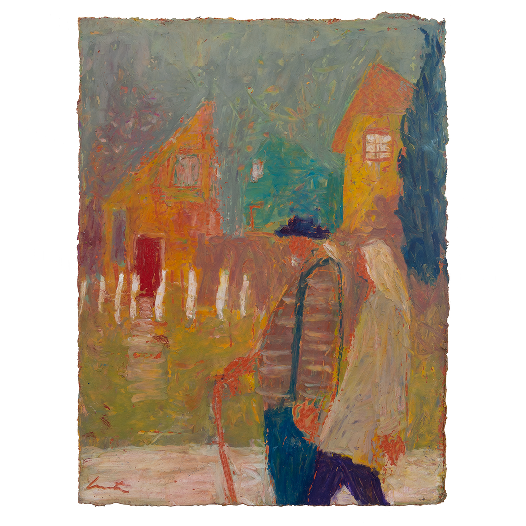 Original Artwork | Figurative Painting by Ruth Hunter | Walkabout | two figures walking in a neighborhood