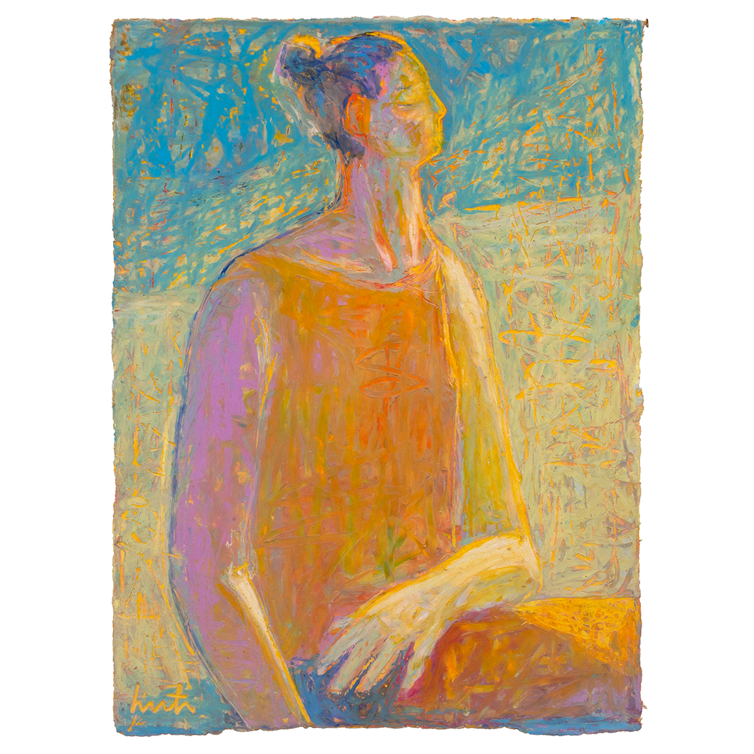 Original Artwork | Figurative Painting by Ruth Hunter | Warm Sun Cool Shade | meditating figure
