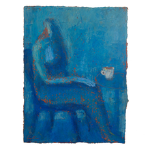 Load image into Gallery viewer, Original Artwork | Figurative Painting by Ruth Hunter | Wee Hours | figure in blue interior