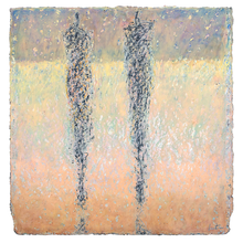 Load image into Gallery viewer, Original Artwork | Figurative Painting by Ruth Hunter |  Winter Beach | two figures in  abstracted landscape