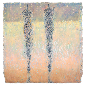 Original Artwork | Figurative Painting by Ruth Hunter |  Winter Beach | two figures in  abstracted landscape