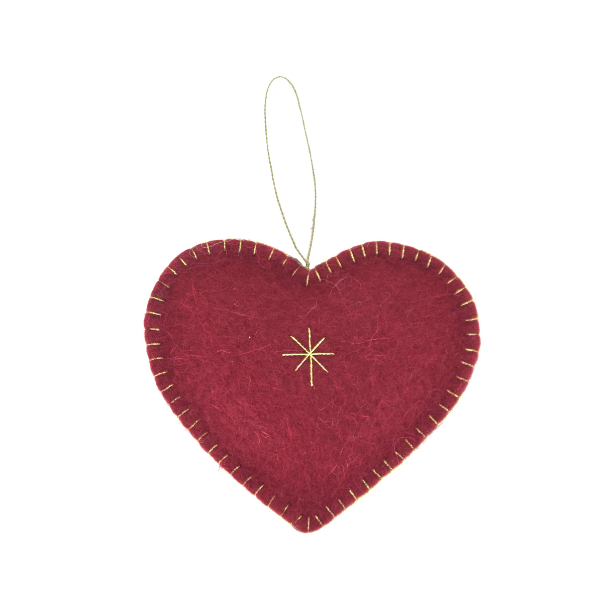 Heart Felted Ornament - Red Wine
