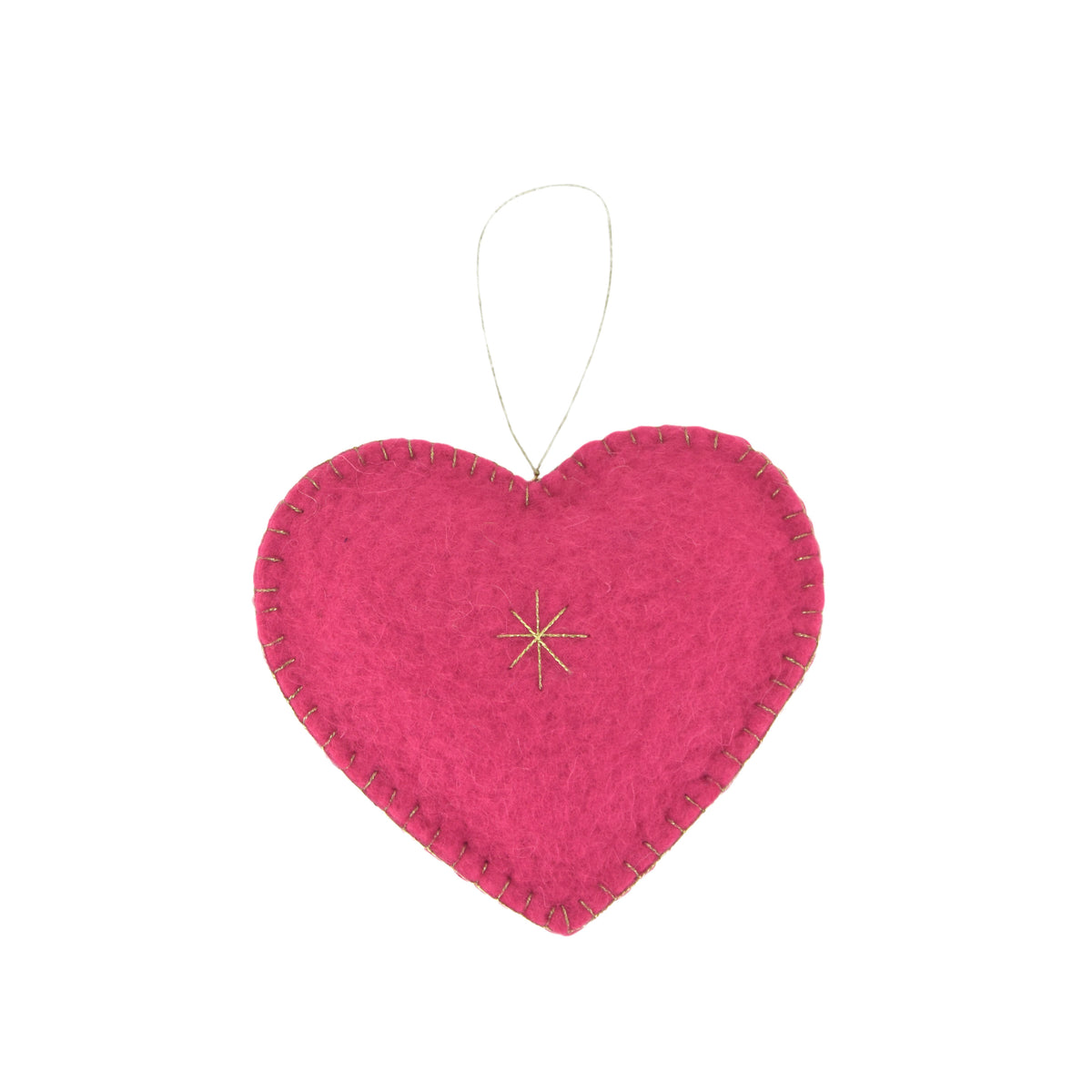 Heart Felted Ornament - Pink