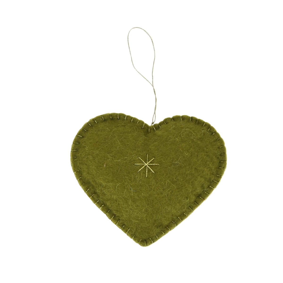 Heart Felted Ornament - Olive