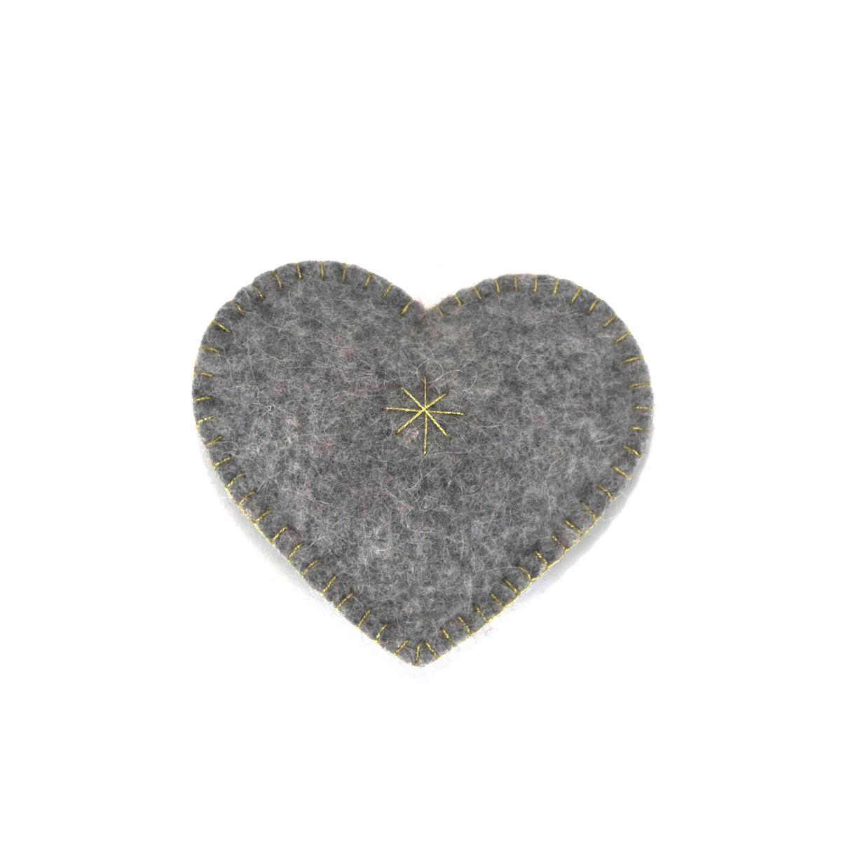 Heart Felted Ornament - Grey