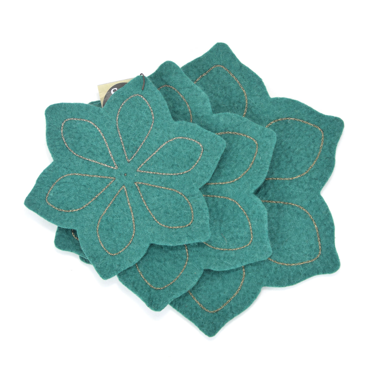 Chloe Felted Coaster Set - Military Green