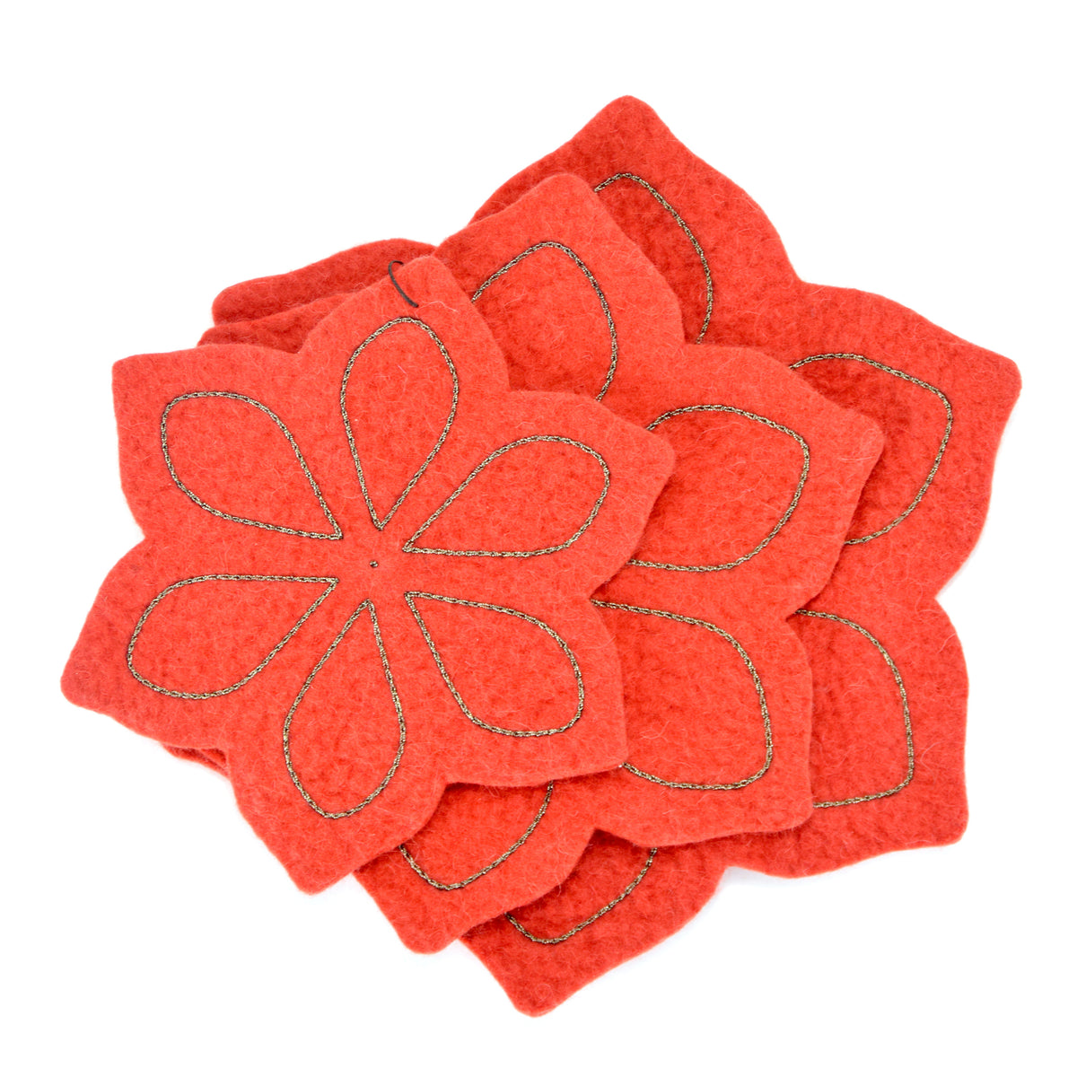 Chloe Felted Coaster Set - Red