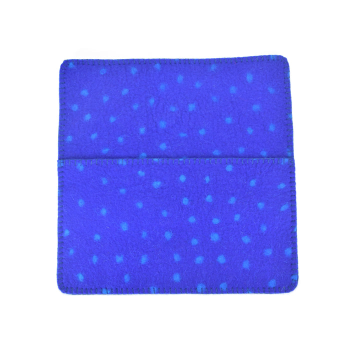Hug Felted Polkadot Cushion Cover - Blue