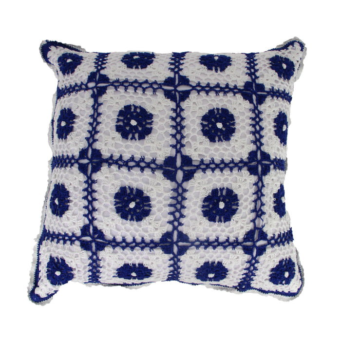Hug Crochet Polkadot Cushion Cover - Navy