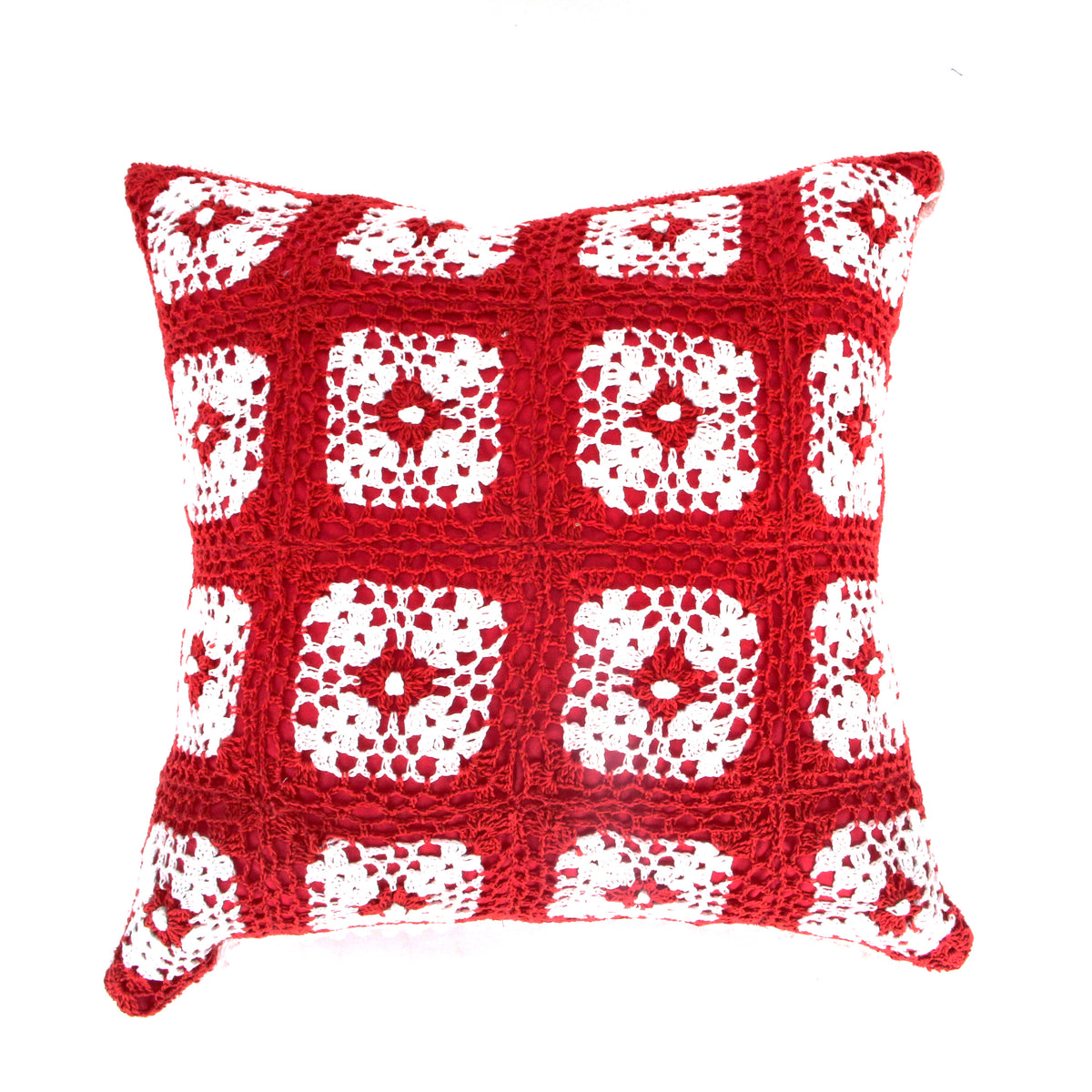 Hug Crochet Polkadot Cushion Cover - Red
