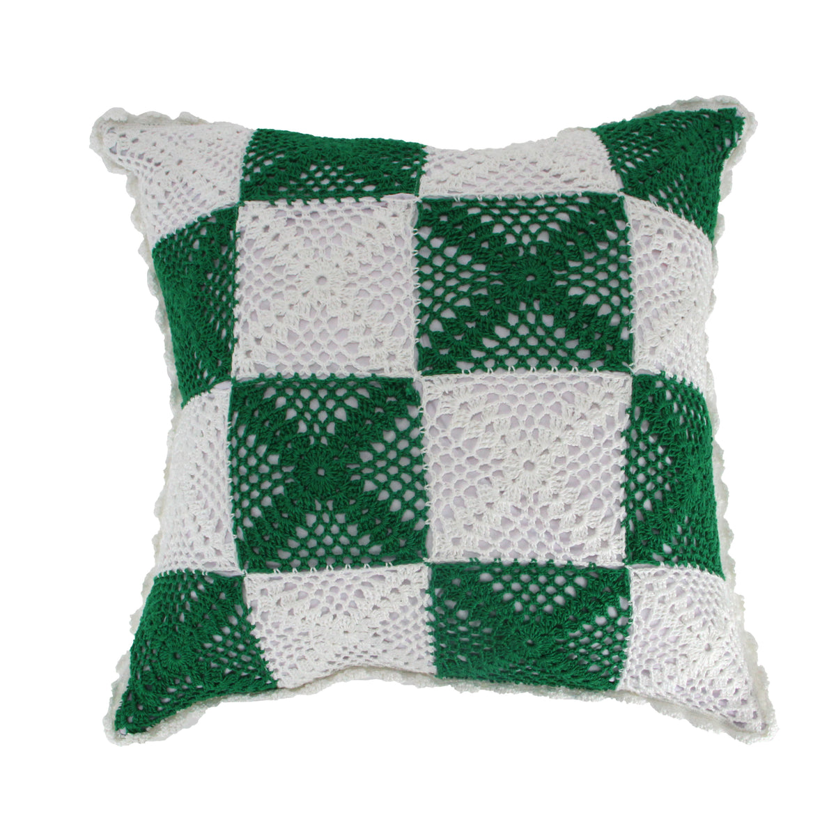Hug Crochet Checkered Cushion Cover - Green