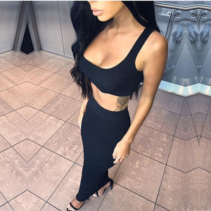 Ribbed Crop Top And Skirt Set