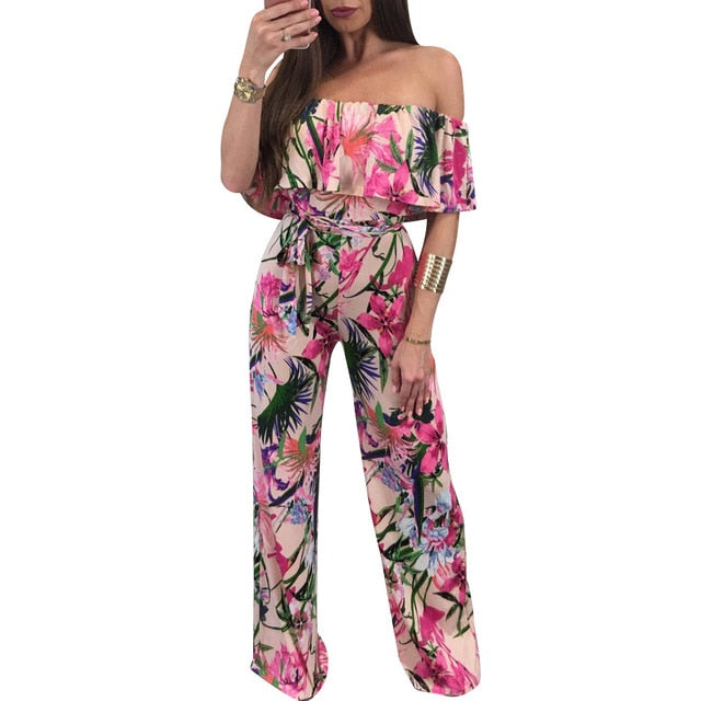 Floral  Sexy Beach  Jumpsuit