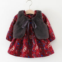 Load image into Gallery viewer, Kids  Floral Plus Velvet Dress