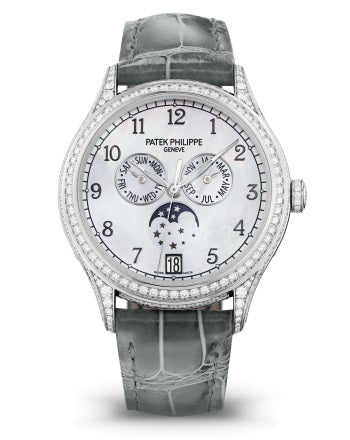 Brand New 100% Genuine PATEK PHILIPPE Annual Calendar Moonphase White Gold Black 4948G-010 Watch