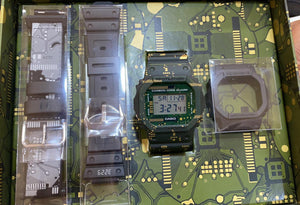G-Shock DWE-5600CC with interchangeable green bezel and a 5600 circuit board design