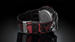 The bezel and resin band of G-Shock One Piece GA-1110JOP features dynamic illustrations of the main character Monkey D Luffy