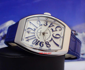 Franck Muller Vanguard V32SCATFOACBL features white dial with blue numerals