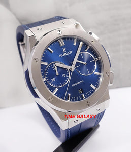 Hublot 521.nx.7170.lr blue dial, stainless steel and sapphire glass materials
