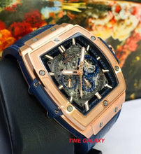 Load image into Gallery viewer, Hublot 601.OX.7180.LR blue alligator strap 18K King Gold and plated titanium deployant buckle clasp