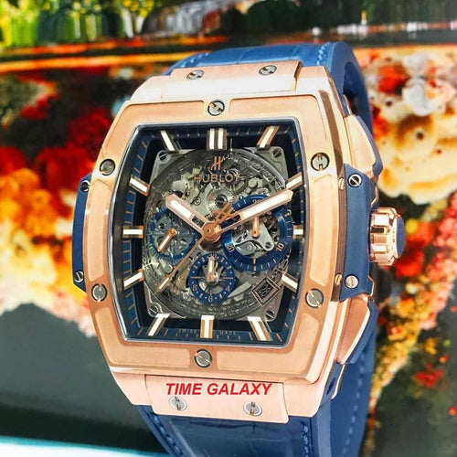 Pre-Owned 100% Genuine HUBLOT Spirit Of Big Bang 18k King Gold Blue Automatic Chronograph Watch