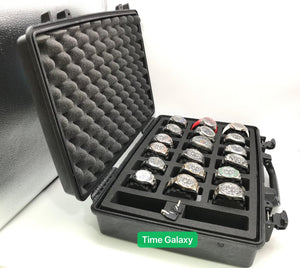 Pelican 1490 case can store up to 18 watches, 2 tools or accessories