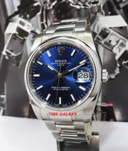 Load image into Gallery viewer, Rolex Oyster Perpetual Date 34 Oystersteel Domed Oyster Blue 115200-0007