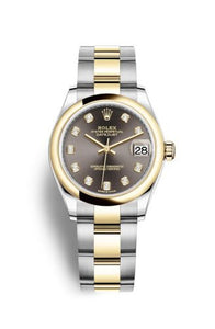Authentic Rolex Datejust 31 Stainless Steel Yellow Gold Domed Grey-Diamond Oyster 278243-0021 Watch