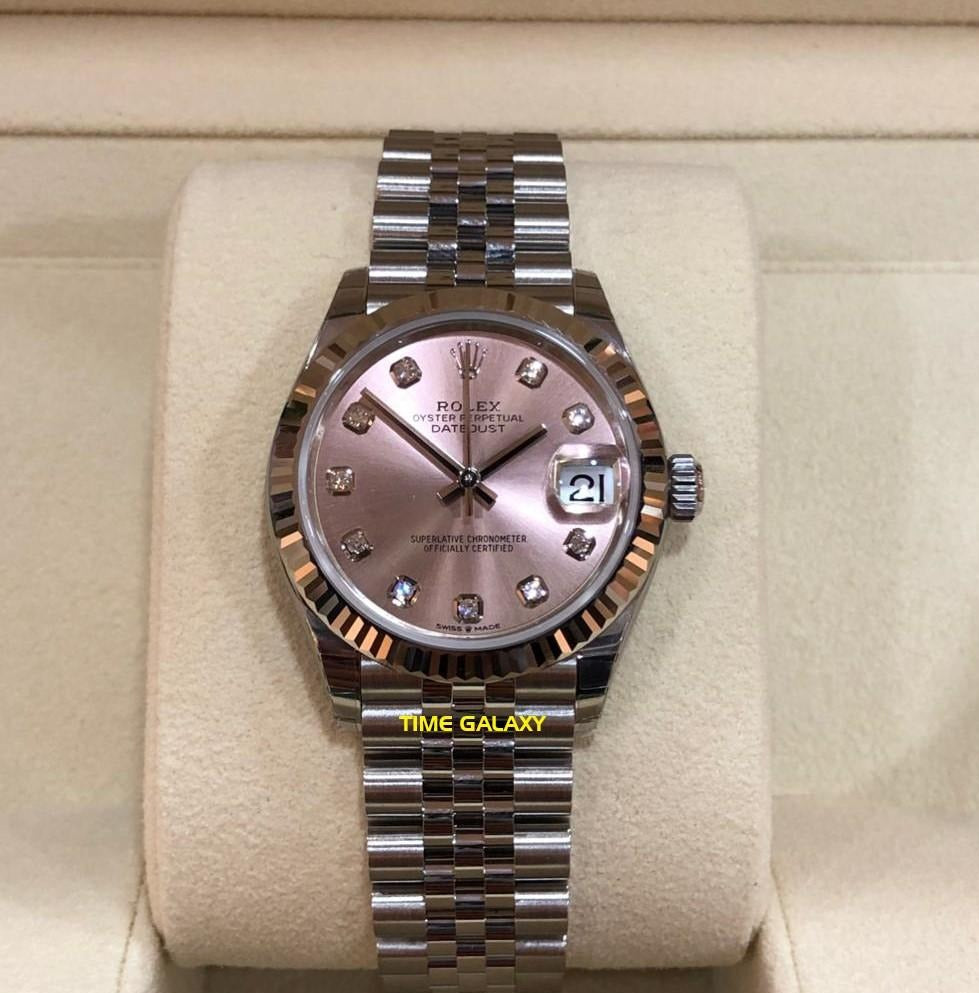 ROLEX Datejust 31 Stainless Steel Fluted Jubilee Pink Diamond 278274