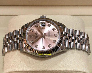 Rolex 278274-0032 features pink dial, diamond indexes