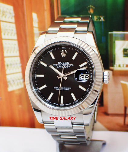 Rolex Datejust 41 Rolesor White Fluted Oyster Black 126334-0017