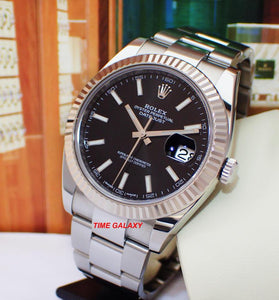 Buy Sell Rolex Datejust 41 White Rolesor Black Oyster 126334 at Time Galaxy