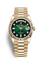 Load image into Gallery viewer, Authentic Rolex Day-date 36 Yellow Gold Fluted Green Ombre-Diamond 128238-0069 Watch