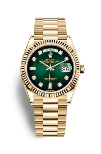 Authentic Rolex Day-date 36 Yellow Gold Fluted Green Ombre-Diamond 128238-0069 Watch