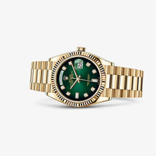 Load image into Gallery viewer, Rolex 128238-0069 made of yellow gold, sapphire glass, green dial, diamond indexes